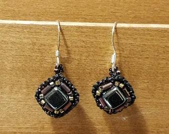 Hematite bead embroidery earrings