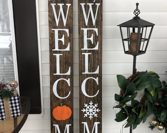 Welcome front porch sign with interchangeable designs