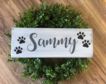Personalized name wooden sign with paw prints