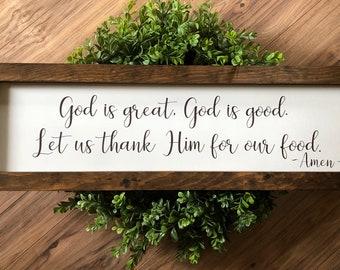 God is great, God is good framed wooden sign