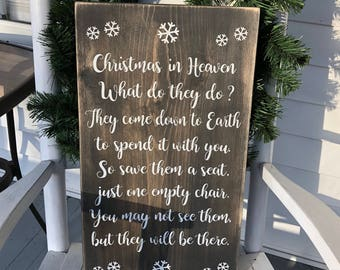 Christmas in heaven wooden sign