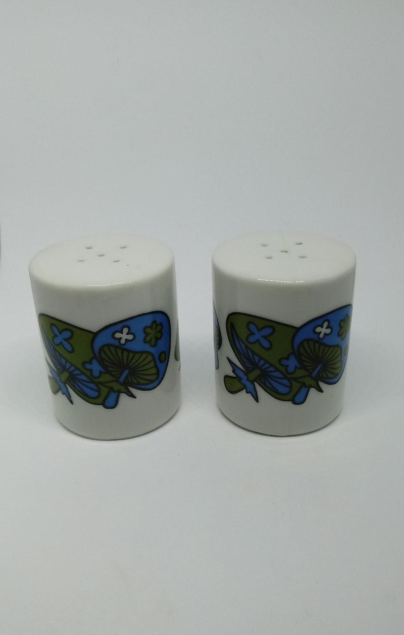 Green and blue Takahashi mushroom salt and pepper shakers