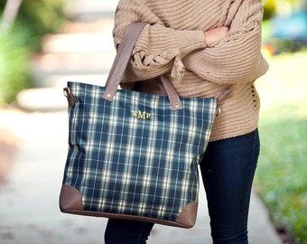Monogrammed Middleton Plaid Shoulder Bag