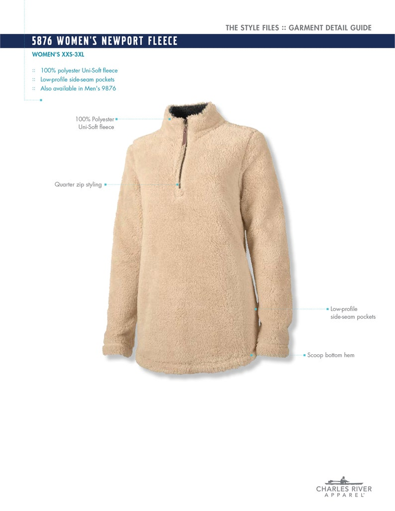 Charles River Fleece Pullover with Monogram
