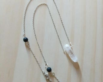 Lava stone diffuserCrystal Point with LAVA Diffuser Necklace