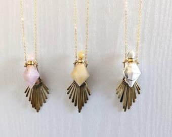 FRINGE Gemstone Essential oil Vial Diffuser Necklace | gemstone necklace | Diffuser Necklace | Boho Necklace | fringe necklace