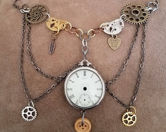 Handmade, steampunk style, multi-strand necklace