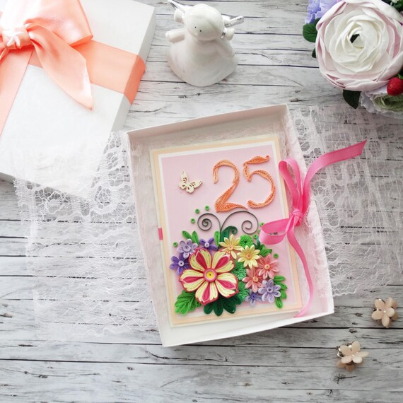 Quilled Greeting Card Happy 25th Anniversary 25 Years