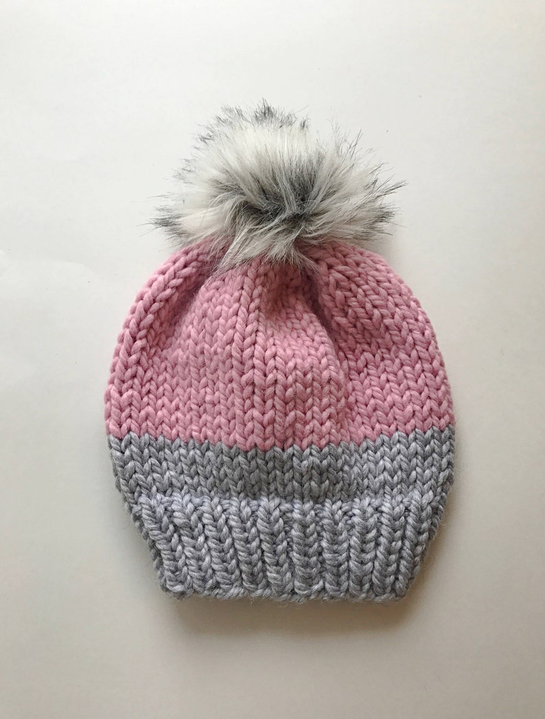 83f250a7cfe Two Toned Knit Hat    Chunky Hand Knitted Hat    Knit Hats