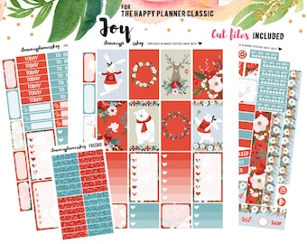 Happy Planner Stickers Printable, Christmas Weekly Printable Planner Kit, December Stickers, Christmas Planner Stickers, Printable Cut File