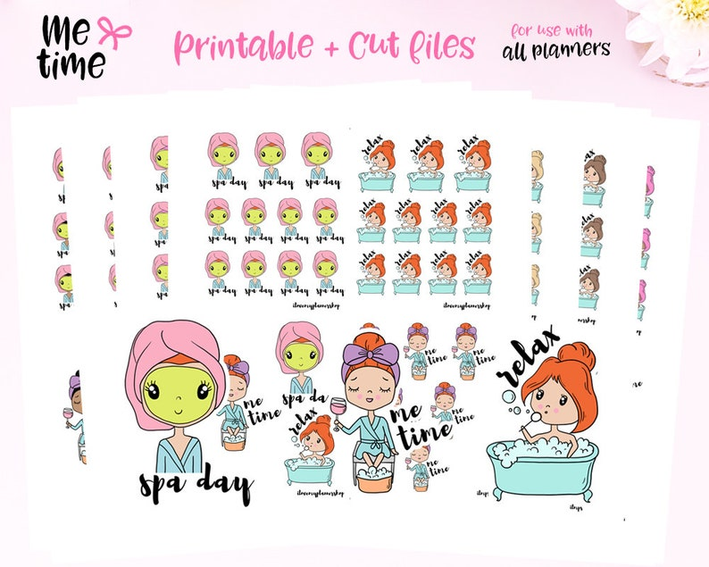 Printable Planner Stickers Functional Stickers Me Time Etsy