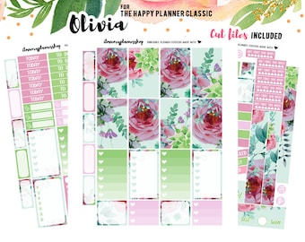 MAMBI Planner Printable Stickers, Happy Planner Stickers, Cut lines, Weekly Planner Stickers, Floral Planner Sticker MAMBI Sticker
