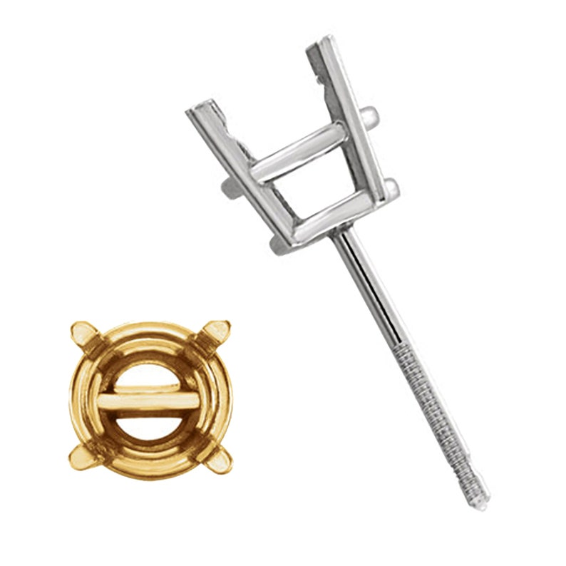 Piece 14K Threaded Pre-Notched Stud Earring 2mm 10.5mm Round 4-Prong Basket Earring Mountings