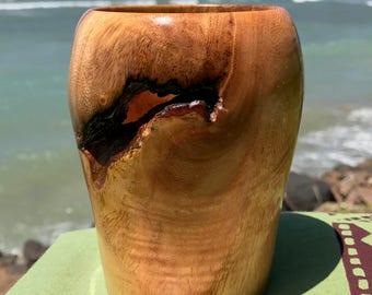 "Hawaiian Mango wood ""puka"" vase -3.25 inches (8.3cm) diameter x 4.5"" (11.4cm) tall"