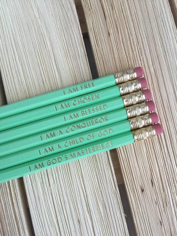 Je suis crayons (lot de 6) | Or estampillé crayons | Ensemble de crayon | Sucre brut écrit