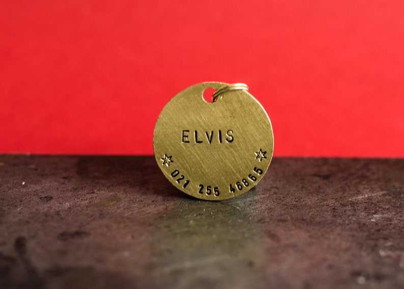 Dog Tag for Collar Brass dog Tag personalized hand stamped id dog tag stamp front/&back