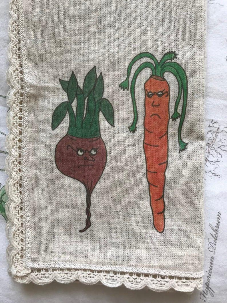 Whimsical Vegetable Hemp Napkin Set of Four