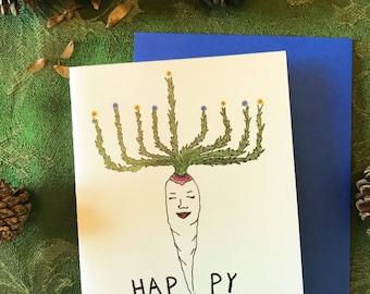 Parsnip Menorah - Whimsical Vegetable Illustration 4.25 x 5.5 in Hannukah Greeting Card with Cobalt Blue Envelope