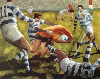 World Cup 1991. Australia v Argentnina [Campese scoring try] By Gareth Lloyd Ball [postcard] [Copyright. Mary Sliwa]