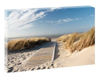 Am Strand sepia  Bild Leinwand Poster Strand Meer Dünen  120 cm* 40 cm 619