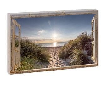 Querfarben Fotodruck Leinwand Strand Dünen Bild Foto Poster Wandbild XXL Strandd