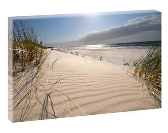 Bild Fotoleinwand Fensterblick Wandbild Strand Meer Poster 120 cm*80 cm 623h