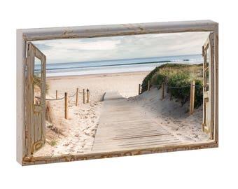 Nordsee Strand Bild Dünen Meer Wandbild Fotoleinwand  Poster 150 cm*50 cm 738