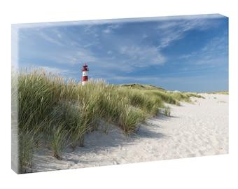 Lighthouse on Sylt image Beach sea stretcher canvas poster XXL 120 cm * 80 cm 498