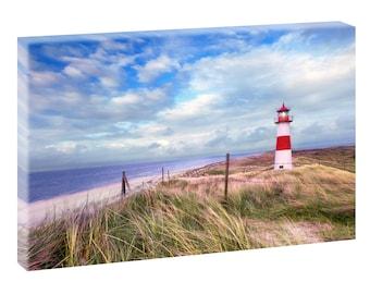 List Sylt Lighthouse Beach image North Sea art print sea wedge frame Canvas Poster XXL 120 cm * 80 cm 501
