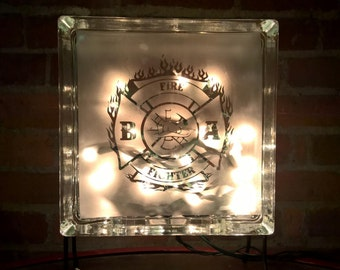 Fire Fighter Etched Lighted Glass Block 8x8x3