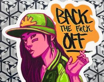 Back Off! Cool Girl Vinyl Sticker