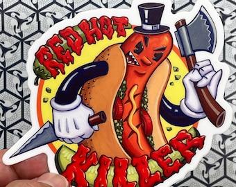 Red Hot Killer Chicago Hot Dog Vinyl Sticker