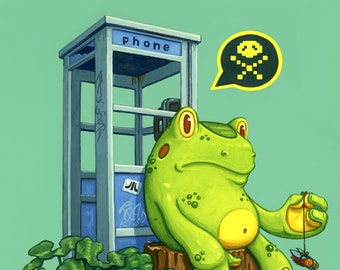 "Frogger Video Game Retro Art - 11x14 archival print - ""He Won't Be Home for Dinner"""