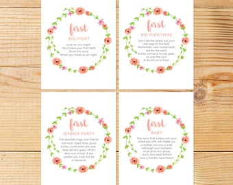 Year of Firsts Printable Wine Tags | 12 Milestone Wine Tags | Gift For Newlyweds | Peachy Watercolor Flowers | Digital Download
