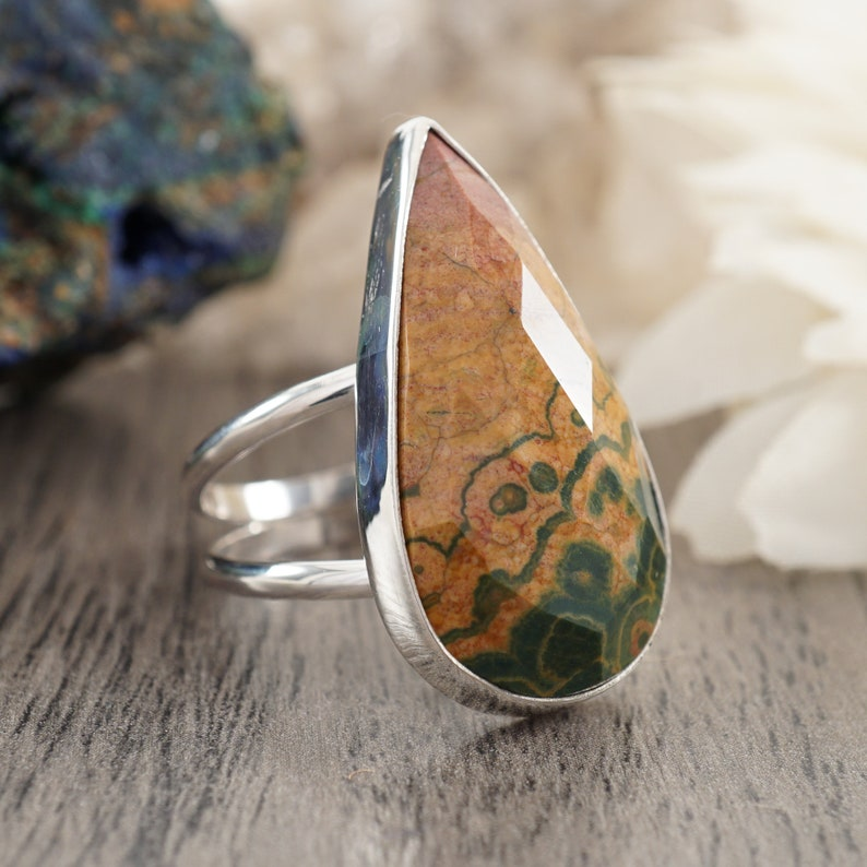 Unique Tan and Forest Green Stone Large Statement Ring Size 8 34 Faceted Ocean Jasper Teardrop Sterling Silver Ring with Split Shank