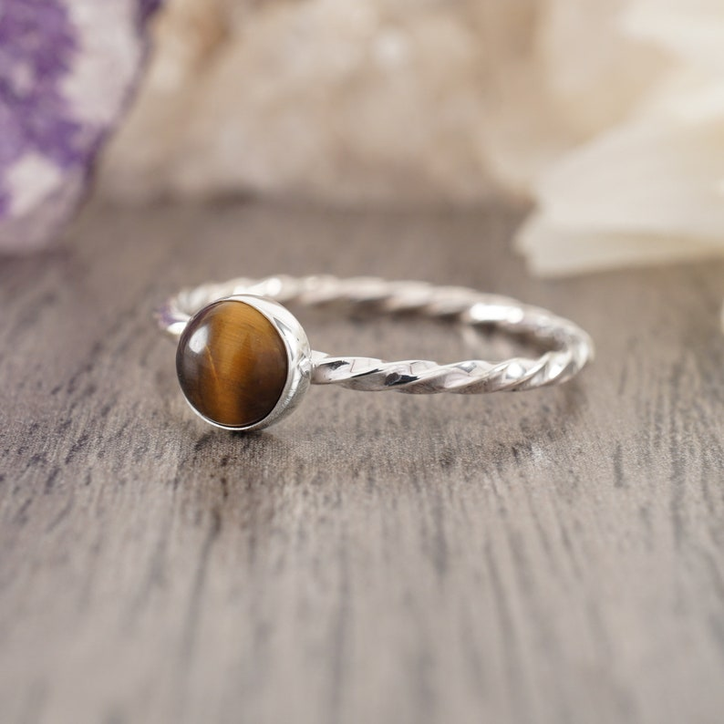 Size 9 14 Tiger Eye Sterling Silver Twisted Ring