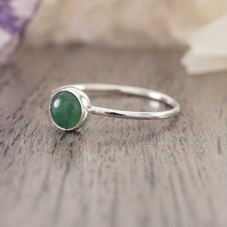 Green Aventurine and Sterling Silver Dainty Ring Made to Order