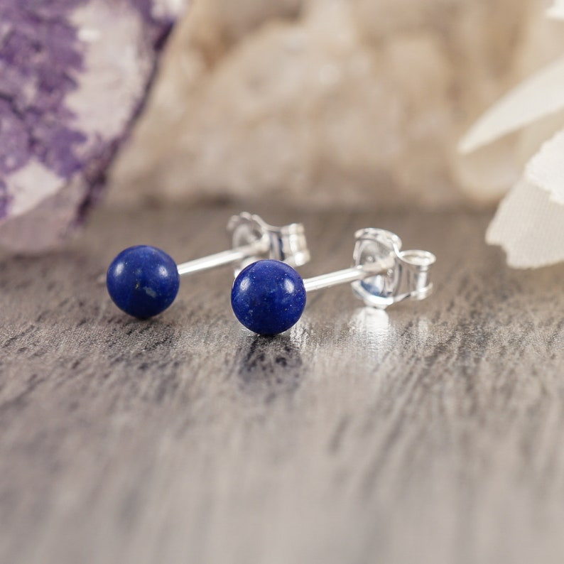 96194d0a64bfa Lapis Lazuli Ball Sterling Silver Stud Earrings - Post with Push Back Studs  - Natural Blue Lapis Lazuli Stone - 4 mm - Casual Jewelry