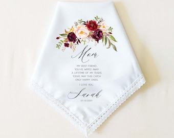 PICK YOUR MESSAGE! Wedding Handkerchief Gift for Mother of the Bride, Gift for Mom, Gift for parent, Wedding Gift, Personalized, from Bride