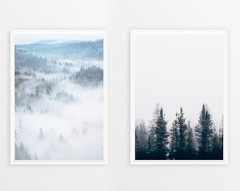 Sale! 2 in 1! Best Selling Items, Scandinavian Set Prints, Fog Forest Poster, Scandi Wall Art, Nature Photography, Scandinave, Arte, Fogs