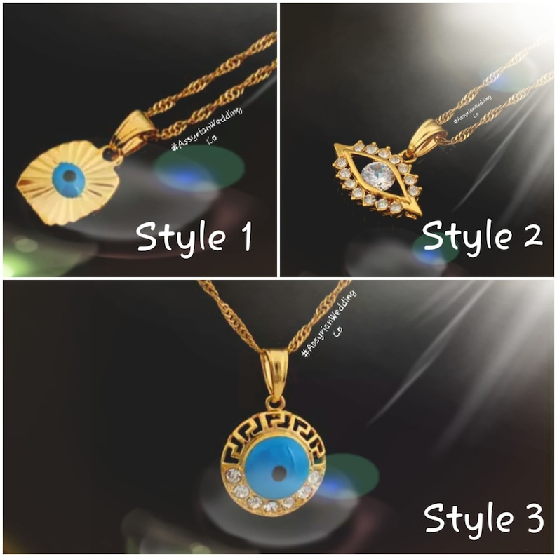 Gold Plated Evil Eye Pendant Necklace