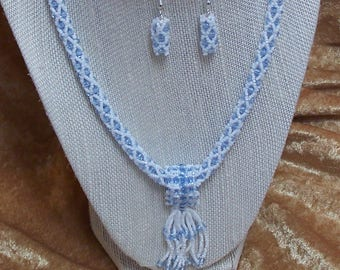 Pale Blue and White Necklace and Earrings Set with Removable Tassel