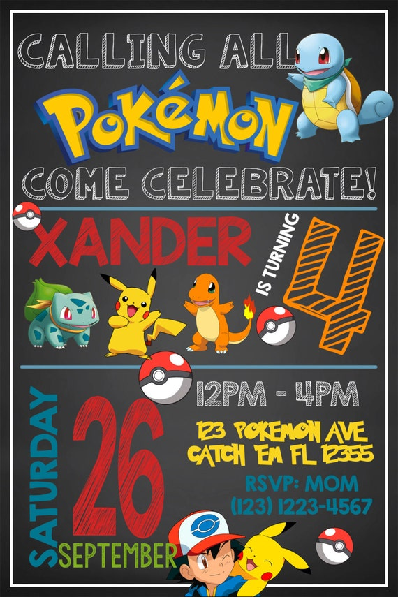 POKEMON INVITATIONPokemon Birthday Invitation Pokemon