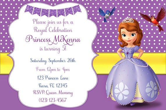 Sofia The First Invitation Matching Thank You Card Sofia Etsy