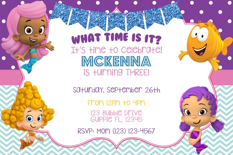Bubble Guppies Invitation Bubble Guppies Birthday | Etsy