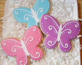 Pastel Butterfly Cookies Party Favors