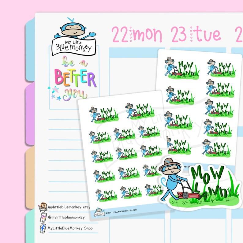 Blue Monkey Lawn Mower Stickers  Gardening Stickers Spring image 0