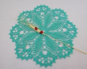 Round aqua crochet doily (24 cm or 9.44 quot ), round tablecloth, green home decoration, gift, table centrepiece, coffee tablecloth, coaster