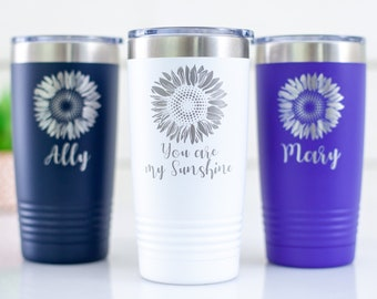 Custom Tumbler with Name | Personalized Coffee Cup | Sunflower Mug | Engraved Coffee Tumbler | Gift for Girlfriend | Gift for Best friend