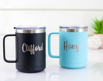 Custom Coffee Mug | Personalized Tumbler | Travel Mug with Handle | Birthday Gift | Gift for Him | Gift for Her | Insulated Stainless Cup